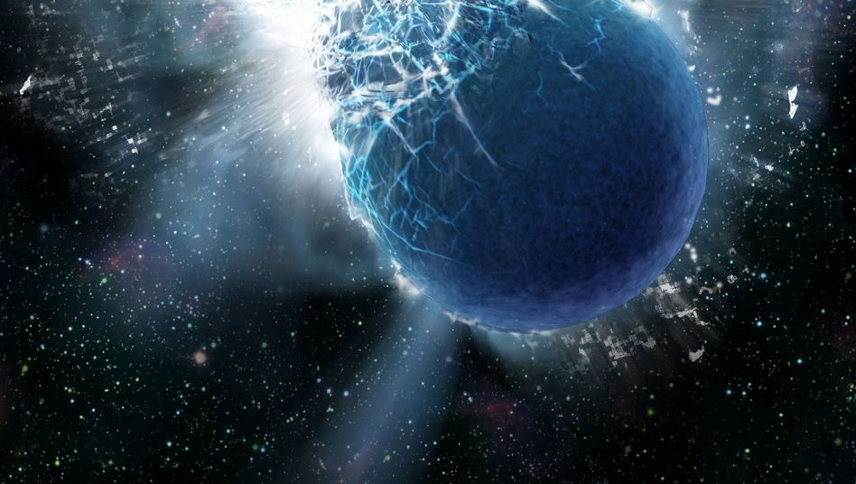 Kollision zweier Neutronensterne (künstlerische Darstellung): Mächtiger Gammastrahlenblitz