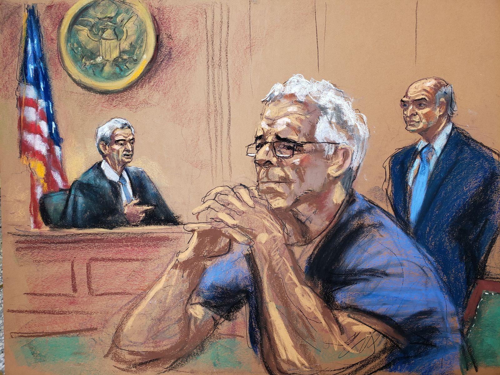 EINMALIGE VERWENDUNG Jeffrey Epstein/ Richtersaal/ Zeichnung