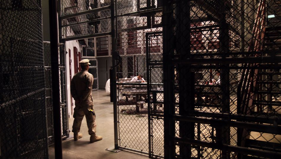 A US Navy sailor stands guard in Camp 6 in the Guantanamo Bay detention center (March 2010 photo).