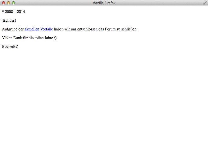 Boerse.bz am Mittwoch: Keine illegalen Kopien unter dieser URL