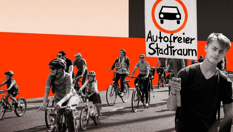 Protest für autofreie Städte