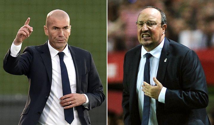 """Neuer Trainer Zidane (l.), Vorgänger Benítez: """"Was ich mag, ist Fußball"""""""