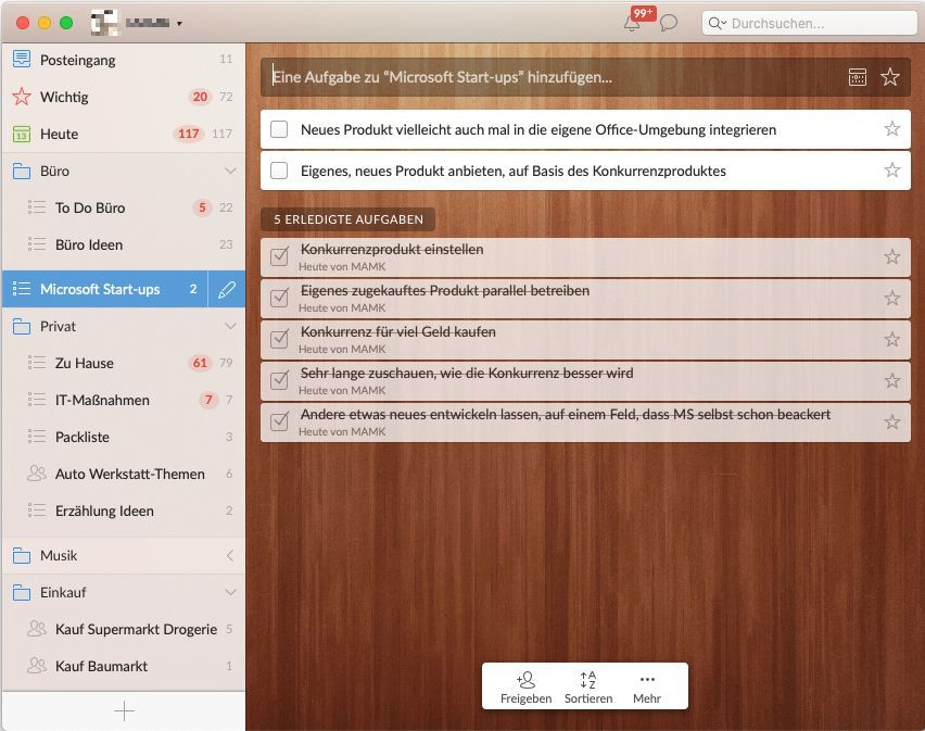 EINMALIGE VERWENDUNG Screenshot/ Wunderlist/ App