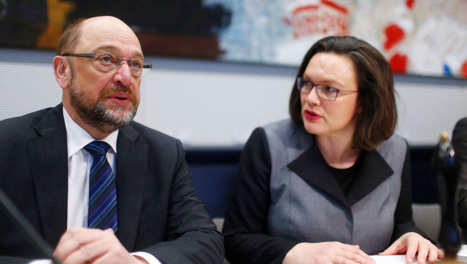 Martin Schulz, Andrea Nahles vor der Bundestagsfraktion