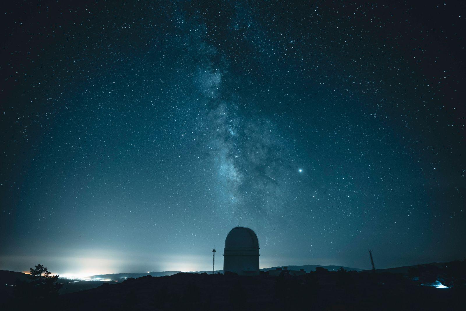 Spain, Province of Almeria, Milky Way galaxy over Calar Alto Observatory at night MPPF00700