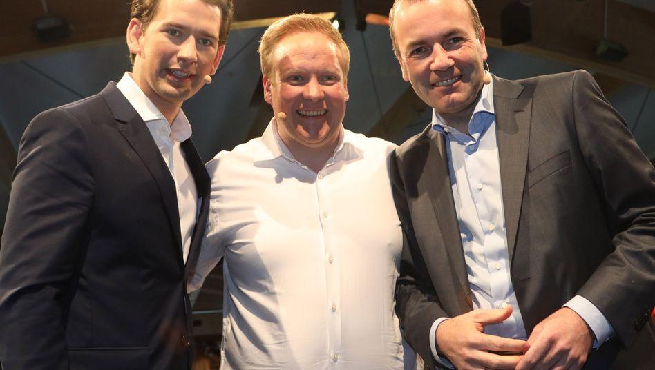 Österreichs Kanzler Kurz, JU-Chef Kuban und EVP-Spitzenkandidat Weber Anfang Mai in Hannover