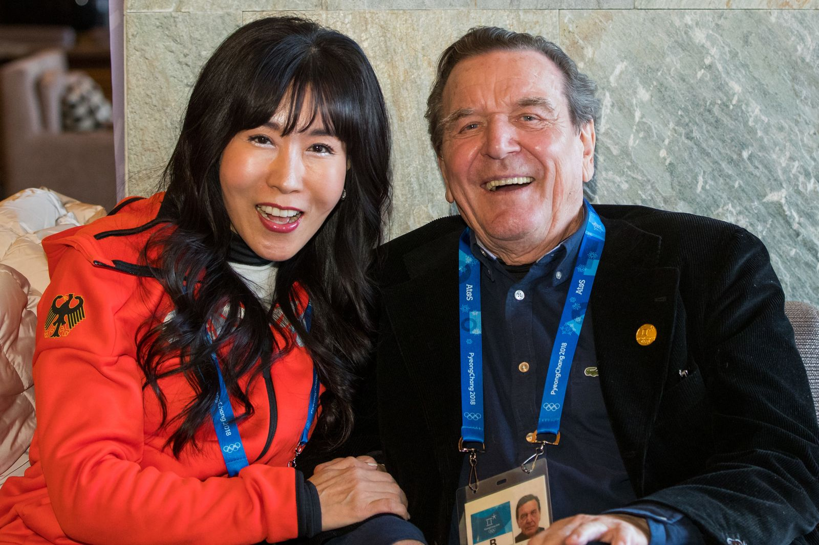 Pyeongchang 2018 - Gerhard Schröder mit Lebensgefährtin
