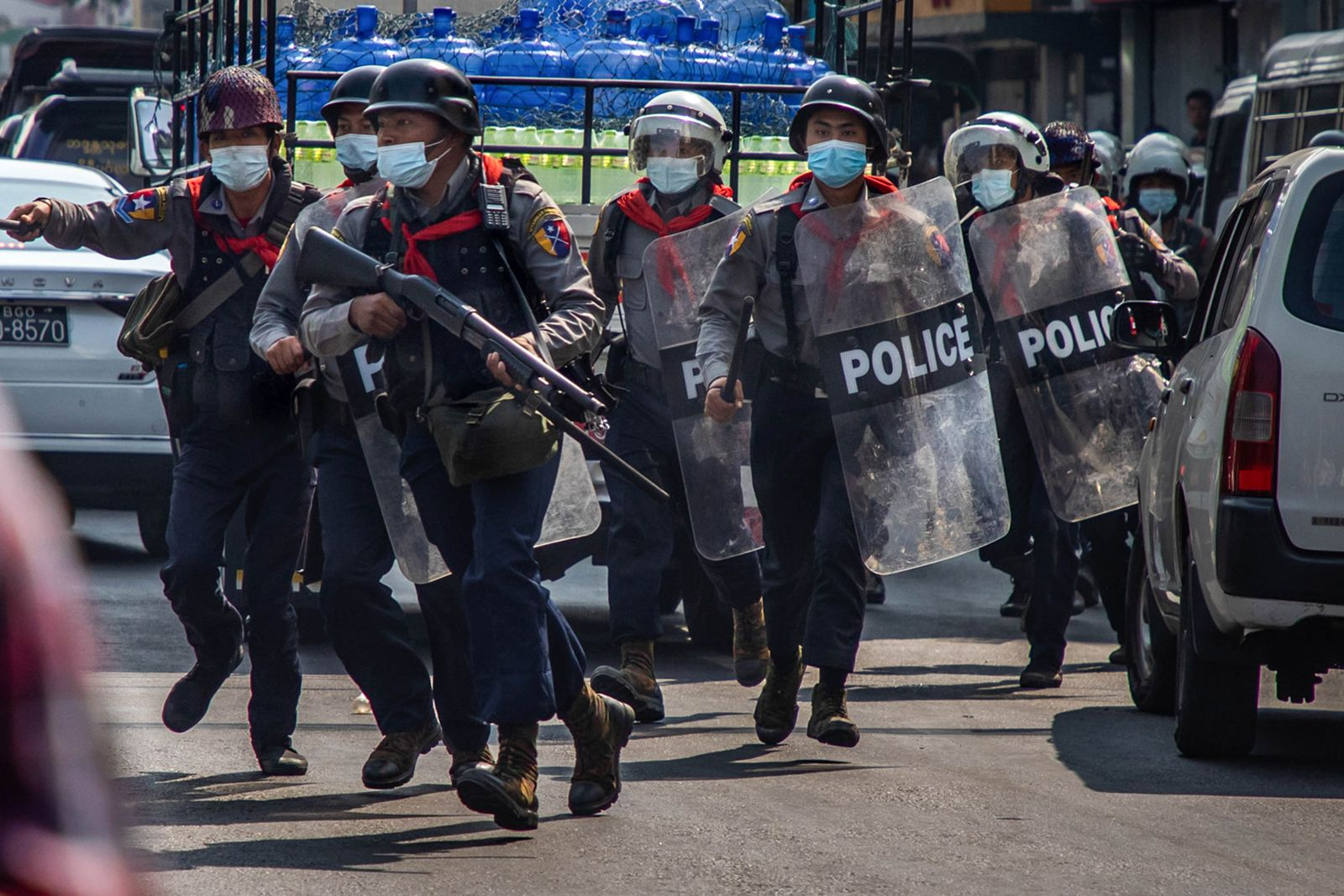 Riot Police Arrest Anti-coup Protesters