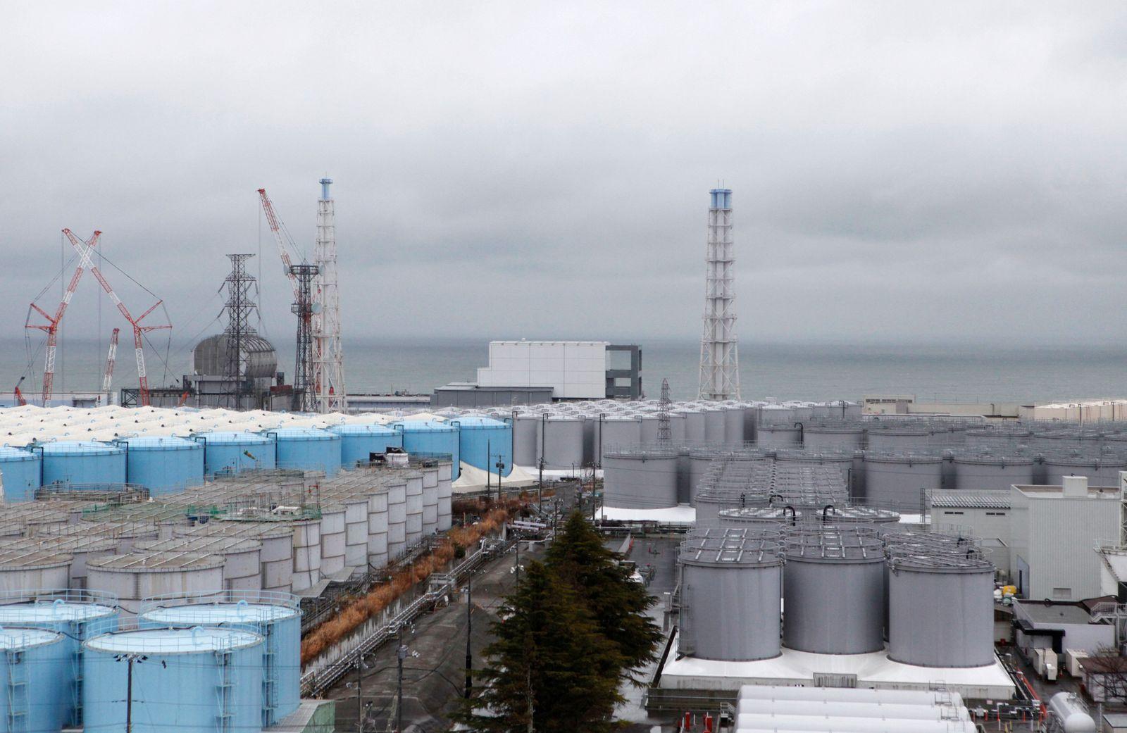 FILE PHOTO: Storage tanks for radioactive water are seen at tsunami-crippled Fukushima Daiichi nuclear power plant in Okuma town, Fukushima prefecture, Japan