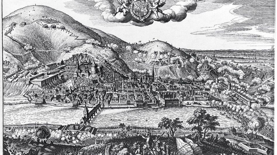 Tillys Truppen rücken 1622 in Heidelberg ein. Stich von Matthäus Merian, um 1630