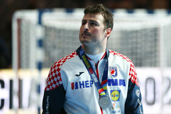 Gespielt wie ein Champion - und doch nicht gewonnen: Kroatiens Domagoj Duvnjak mit seiner Silbermedaille