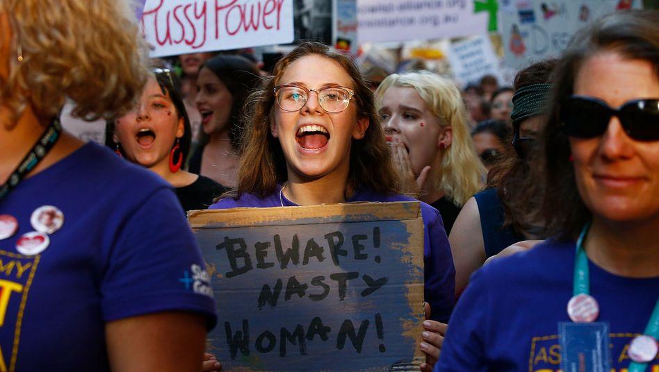 Proteste am Weltfrauentag in Melbourne, Australien