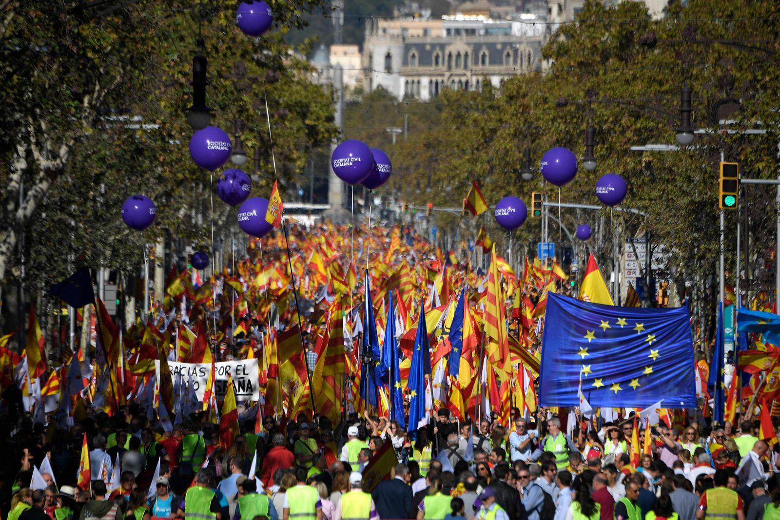 Katalonien/ Unabhängigkeit/ Gegner/ Protest/ Barcelona