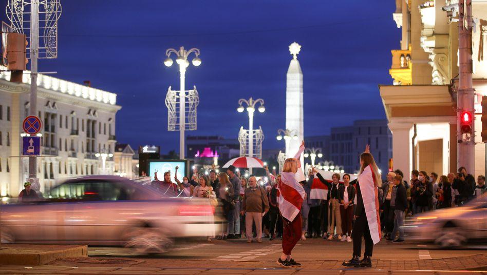 Demonstanten in Minsk (28. August 2020)