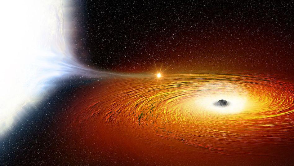 Weißer Zwerg (links) kreist um Schwarzes Loch - künstlerische Darstellung