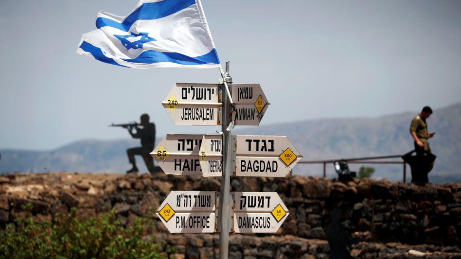 Israelisches Militär auf Posten am Mount Bental im Golan (im Mai 2018)