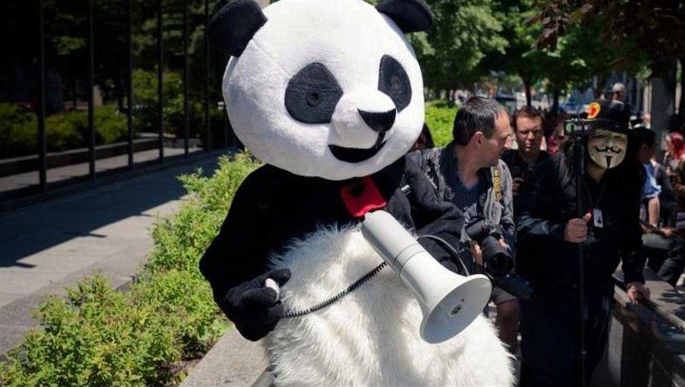 """Als Panda zur Demo: """"Manche Polizisten schmelzen in meinen Armen"""""""