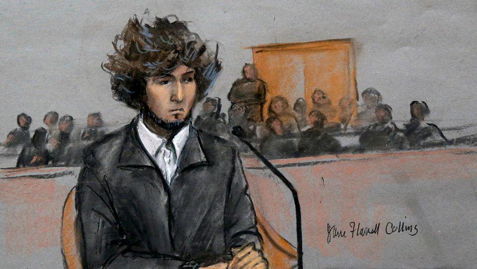 Dschochar Zarnajew vor Gericht im Jahr 2014