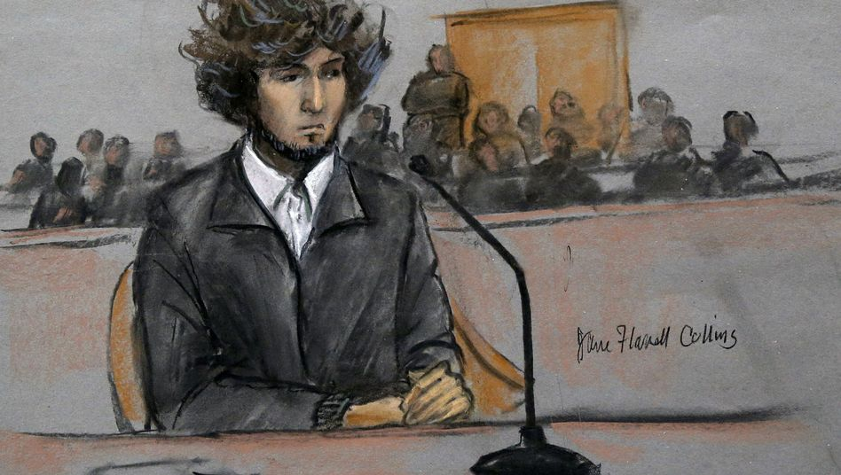 Zeichnung aus dem Gerichtssaal: Jury entscheidet über Zukunft von Dschochar Zarnajew