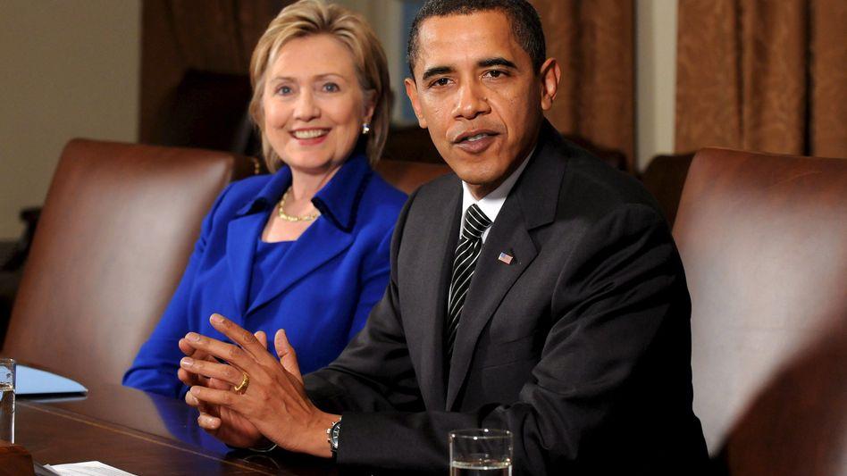 US Secretary of State Hillary Clinton and President Barack Obama