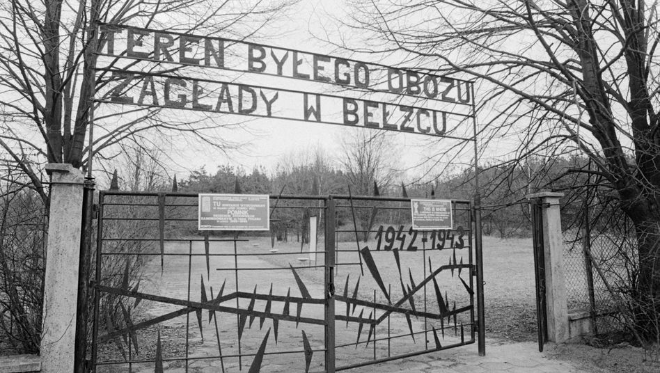 The front gate at the site of Belzec, a World War II Nazi death camp in occupied Poland.