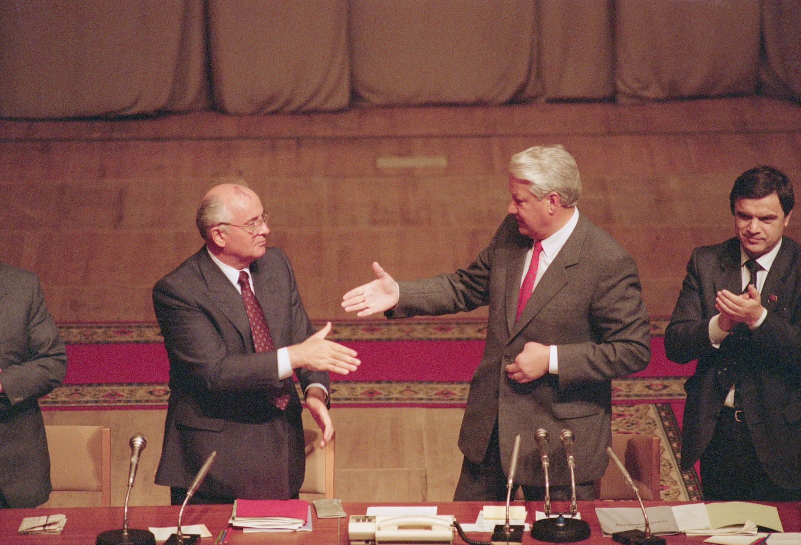Gorbachev and Yeltsin After Coup Attempt