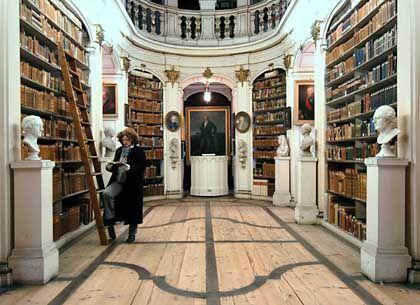 Rokoko-Saal der Herzogin-Anna-Amalia- Bibliothek vor dem Brand: Von mutigen Helfern geräumt