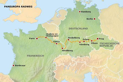 Zwischen Prag und Paris: Der Paneuropa-Radweg führt durch drei Länder.
