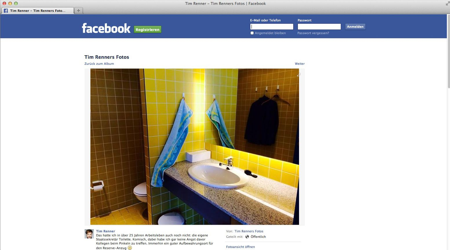 NUR ALS ZITAT Screenshot/ Tim Renner FACEBOOK