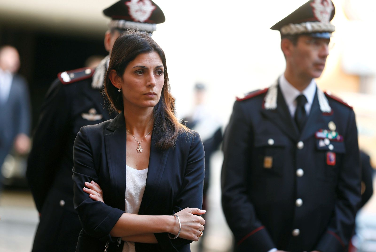 FILE PHOTO: Mayor of Rome Virginia Raggi arrives to pay tribute to a slain police officer killed in Rome