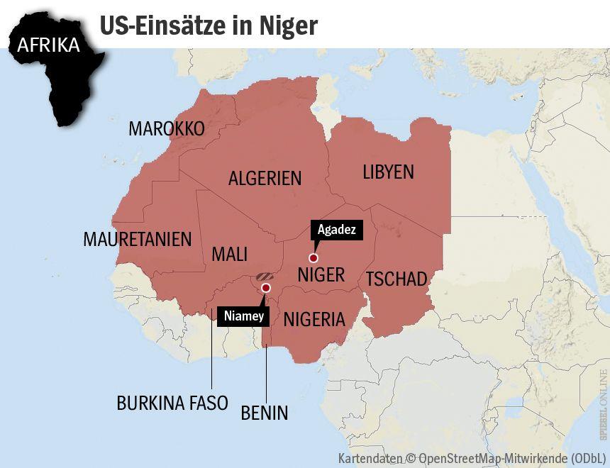 GRAFIK KARTE Afrika Westafrika - US-Einsätze in Niger