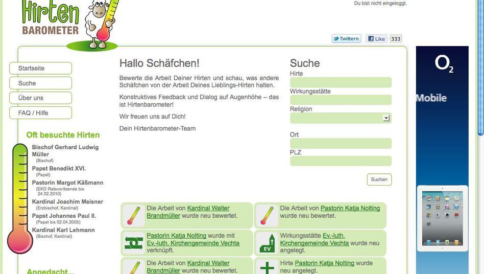 """Screenshot von Hirtenbarometer.de: """"Bewerte die Arbeit deiner Hirten"""""""