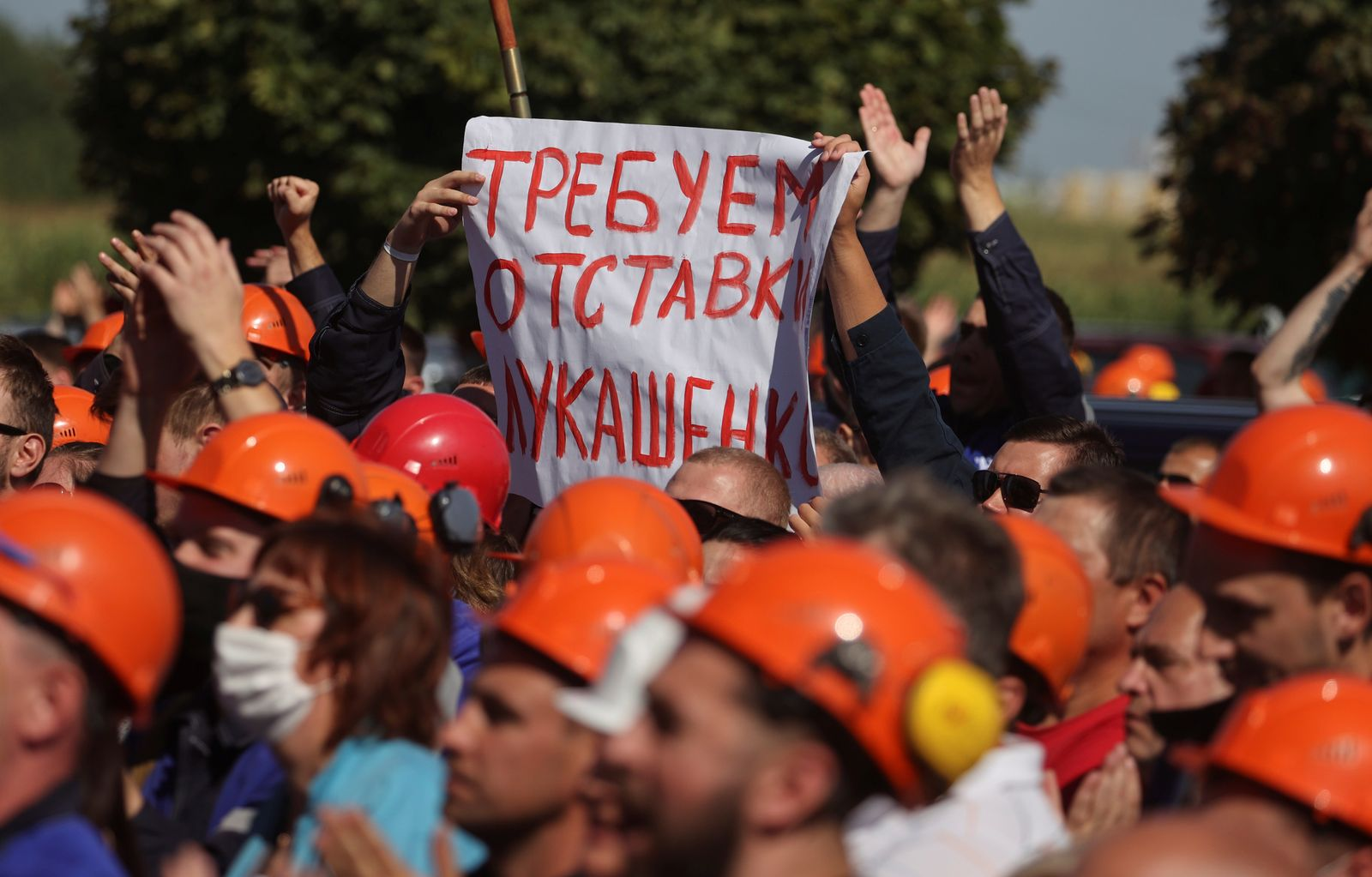 Employees of Grodno Azot company protest against presidential election results in Grodno