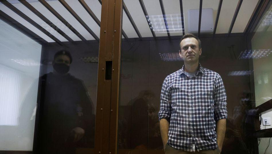 Alexej Nawalny während des Gerichtsprozesses gegen ihn