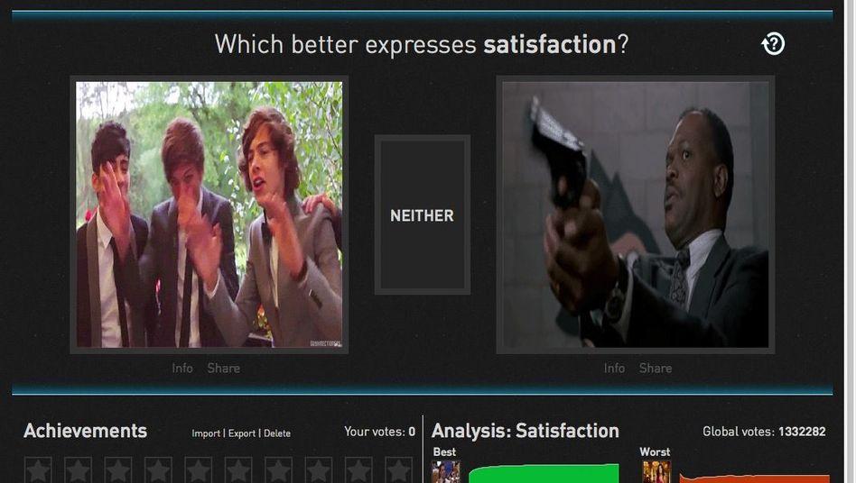 """Screenshot der Website """"GIFGIF"""": Welches Gif passt zu """"Zufriedenheit""""?"""