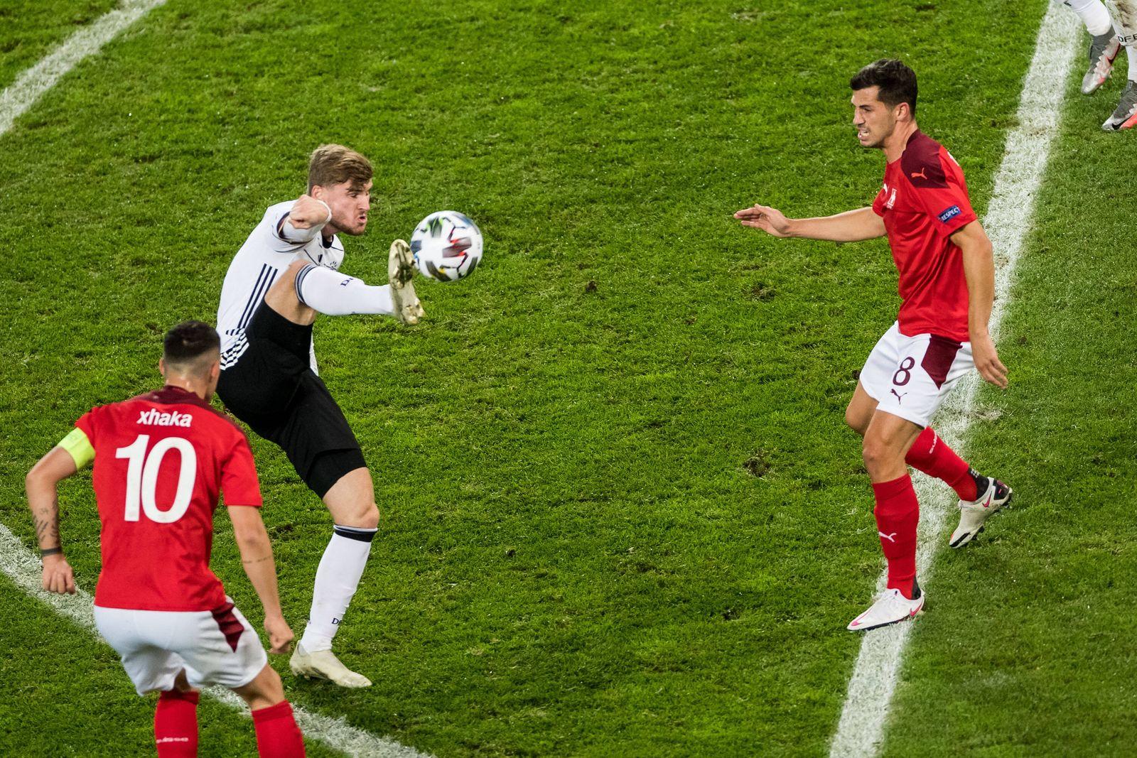 UEFA Nations League, Deutschland - Schweiz; 13.10.2020 Timo Werner ( 9, Deutschland), Remo Freuler ( 8 , Schweiz) UEFA