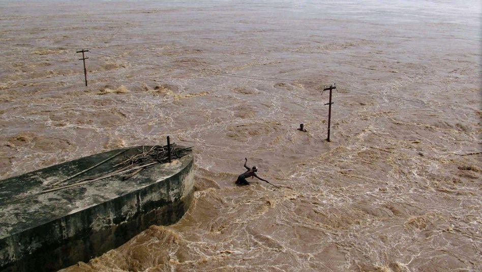 Überschwemmtes Gebiet in Indien: Warnungen vor Flüchtlingswellen wegen Klimawandels