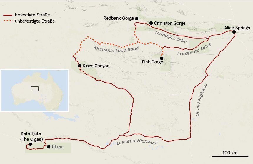 Karte Red Centre Way Australien Uluru Alice Springs