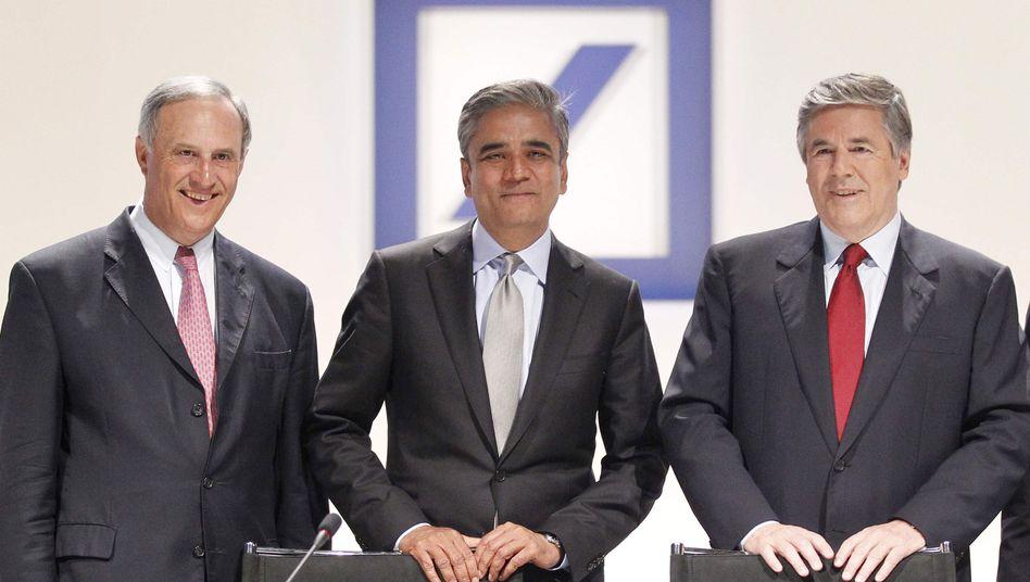 Deutsche-Bank-Manager Jain (l.) und Vorgänger Ackermann: Rüffel von der BaFin