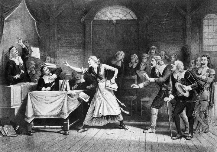 Lithografie zu einem Hexenprozess in Salem: Zeit der religiös getriebenen Hysterie