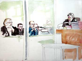 Urteilsverkündung vor dem Aachener Landgericht (Zeichnung): Wie lebendig begraben
