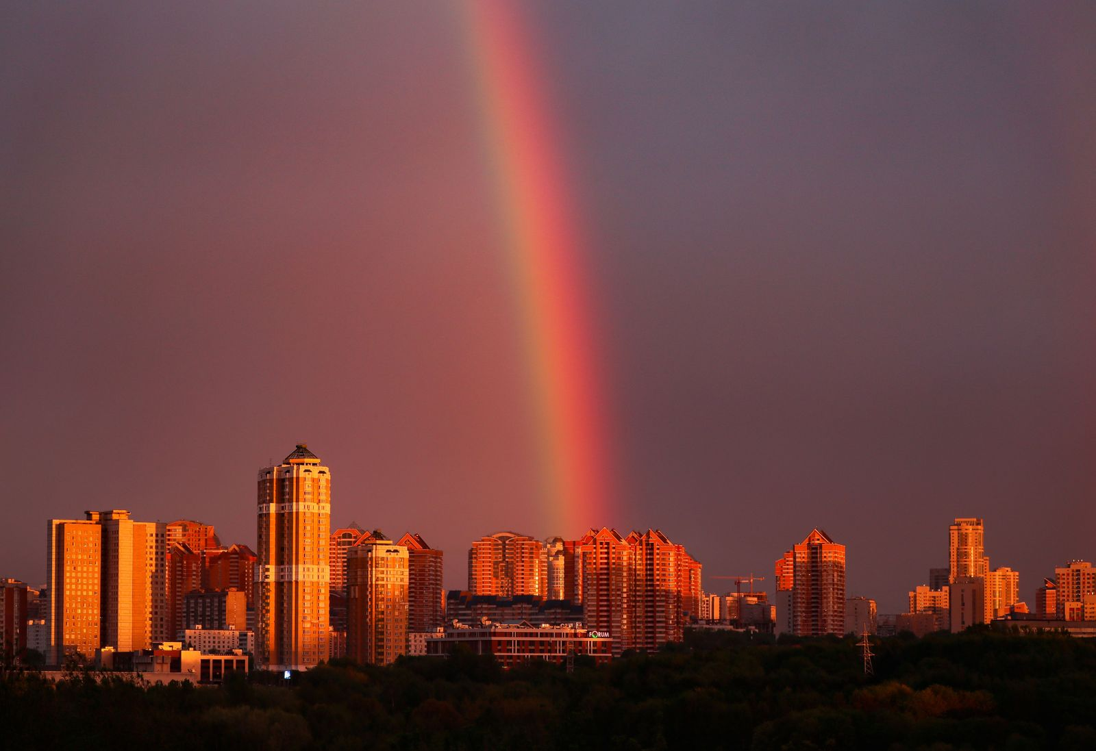 Sunset Rainbow in Moscow, Russian Federation - 14 May 2020
