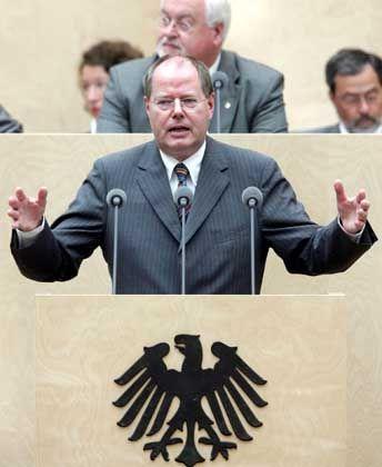 Finanzminister Steinbrück: Unternehmen entlasten, Berechnungsgrundlage erweitern