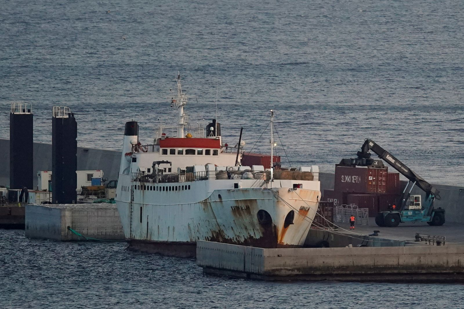 "Livestock ship ""Karim Allah"" carrying Spanish cattle stranded on ship with suspected bluetongue is docked, in Cartagena"