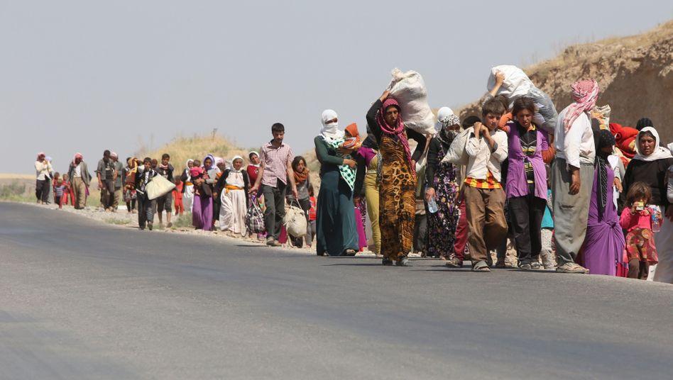 Jesidische Flüchtlinge passieren die irakisch-syrische Grenze