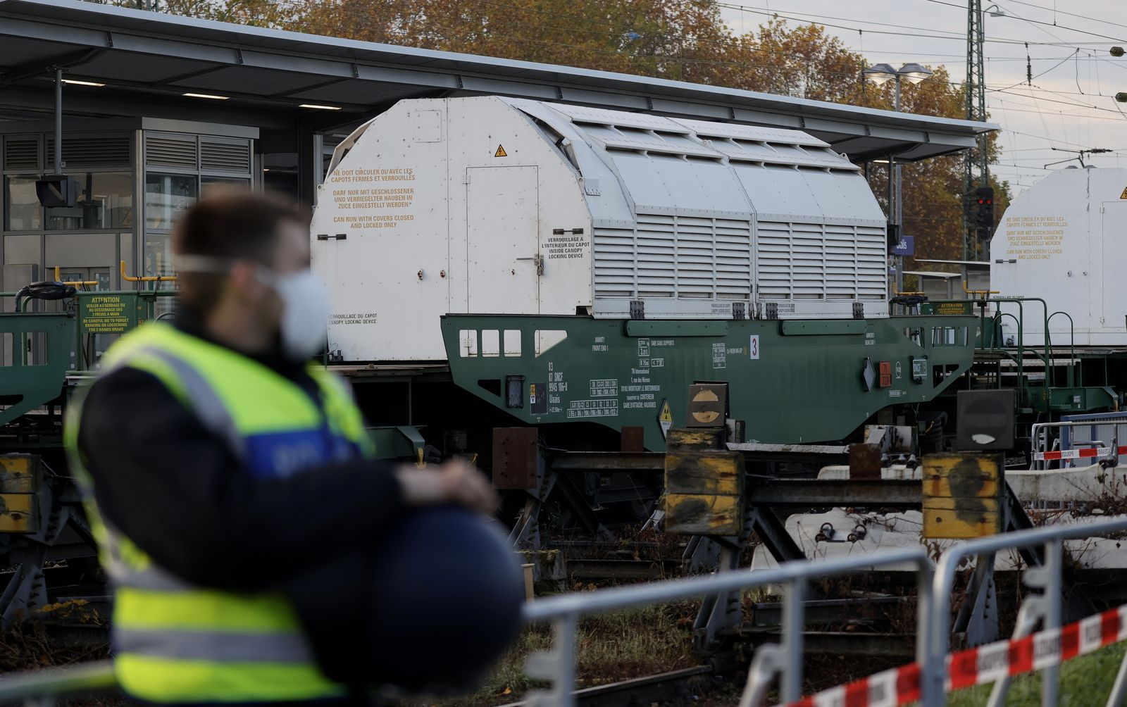 Nuclear waste returns from Sellafield to Germany, Biblis - 04 Nov 2020