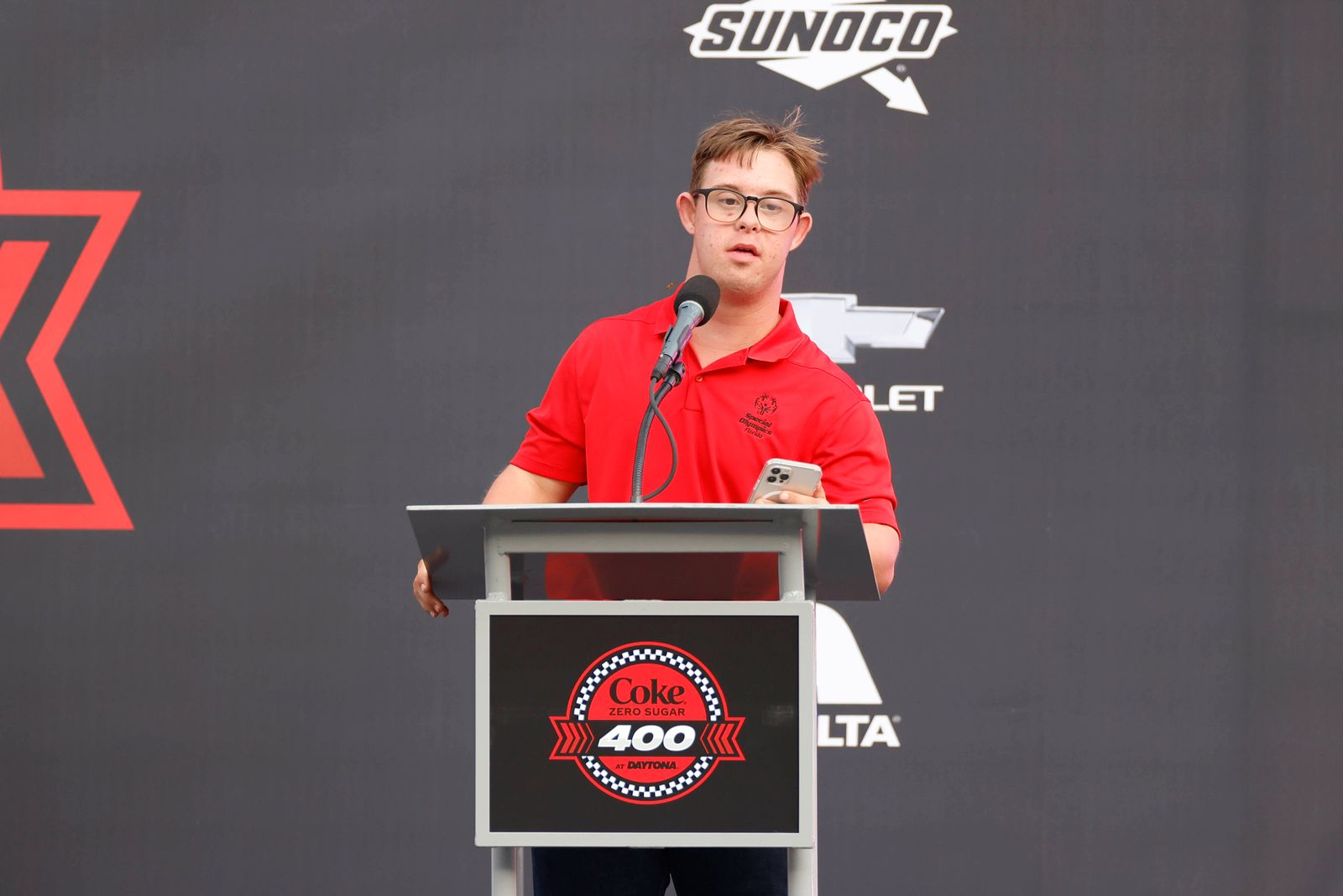 DAYTONA, FL - AUGUST 28: Chris Nikic speaks to the crowd before the Coke Zero Sugar 400 on August 28, 2021 at Daytona In