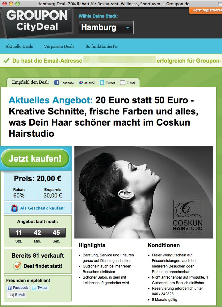 NUR ALS ZITAT Screenshot / 20 Euro statt 50 Euro