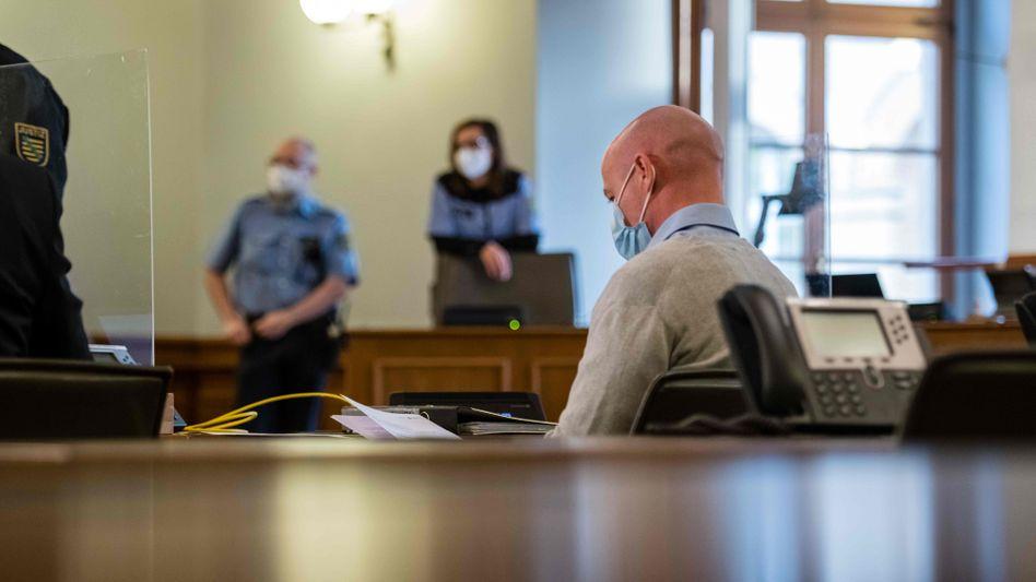 Der Angeklagte im Leipziger Landgericht (am 22. Januar)