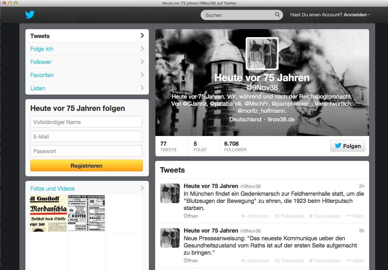 NUR ALS ZITAT Screenshot / Twitteraccount / Heute vor 75 Jahren